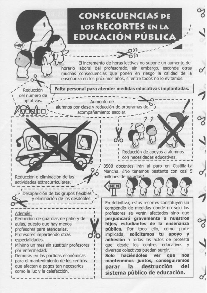Recortes en educación Castilla - La Mancha